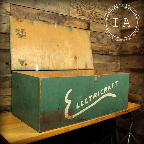 Vintage Industrial Electricraft  Crate Trunk Foot Locker Folk Art Handmade