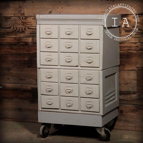 Vintage Industrial Library Card Catalog Parts Storage Trinket Cabinet