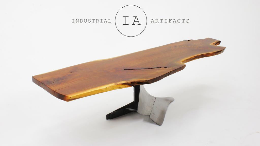 Live Edge Walnut Slab Table w/ Industrial Style Steel Plow Base