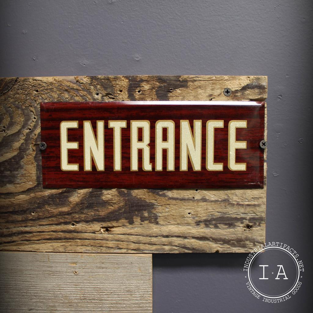 Vintage Faux Wood Metal Entrance Sign Advertising