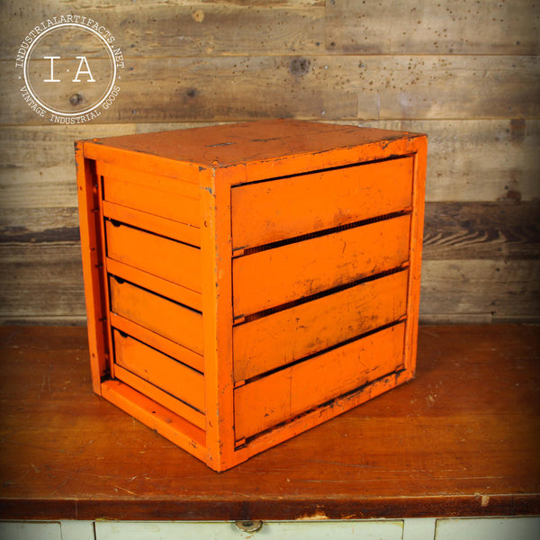Vintage Industrial Orange Dorman Products 4 Drawer Parts