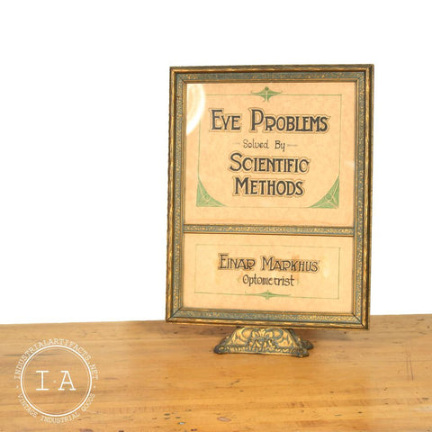 Vintage Optometrist Advertising Counter Top Trade Sign Eye Doctor Glasses