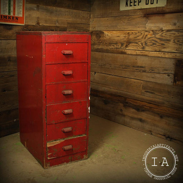 Vintage Industrial 6 Drawer Red Wooden Cabinet Parts