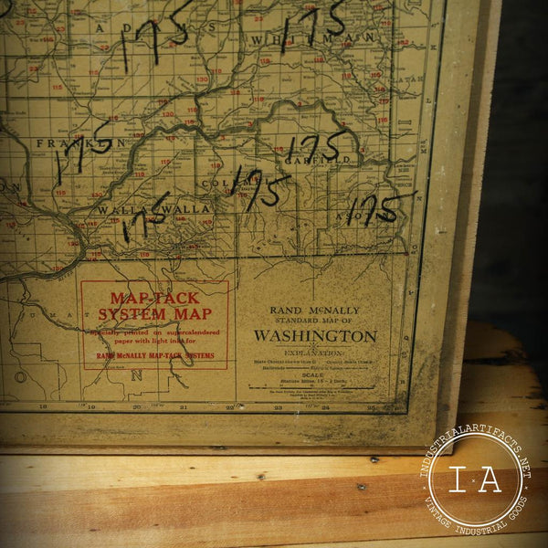 Vintage Rand Mcnally Washington And West Virginia Map Tack