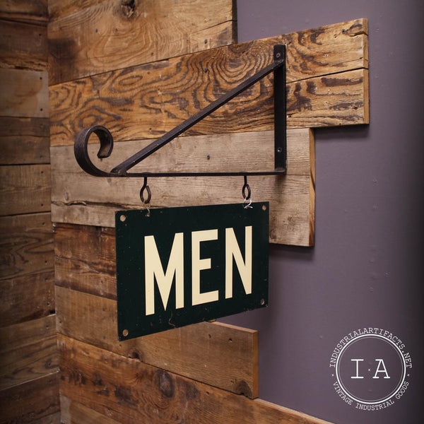 Vintage Double Sided Green Mens Restroom Hanging Bracket