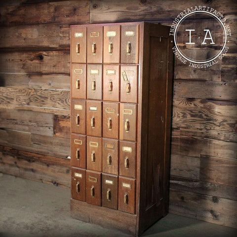 Vintage Industrial Stand-Up Library Card Catalog Cabinet