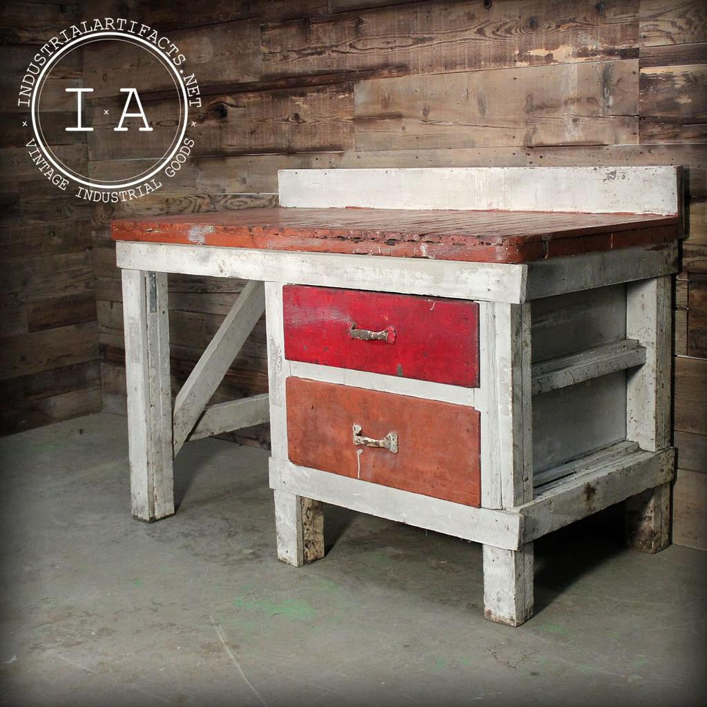 Vintage Industrial Primitive Red Wooden Table Top Work Bench