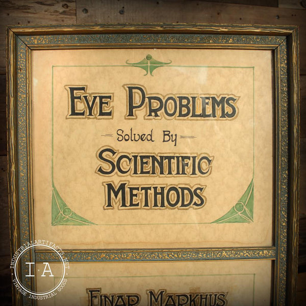 Vintage Optometrist Advertising Counter Top Trade Sign Eye