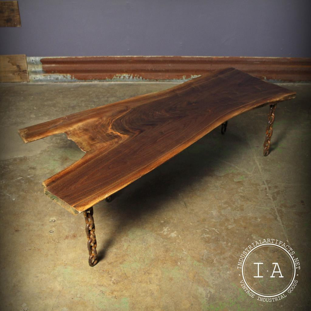 Vintage Industrial Live Edge Walnut Coffee Table
