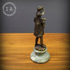 Vintage Art Deco Bronze Statue Girl Feeding Duck Sculpture