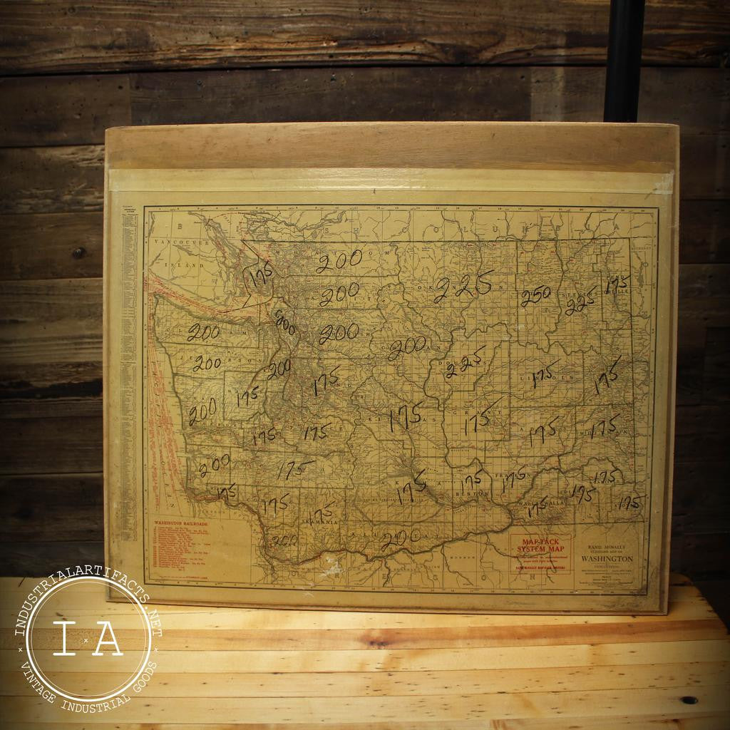 Vintage Rand McNally Washington and West Virginia Map Tack Systems Drawer Map