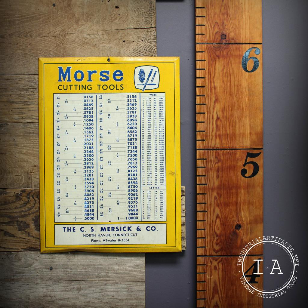 Vintage Industrial Morse Cutting Tools Metal Conversion Wall Chart Sign