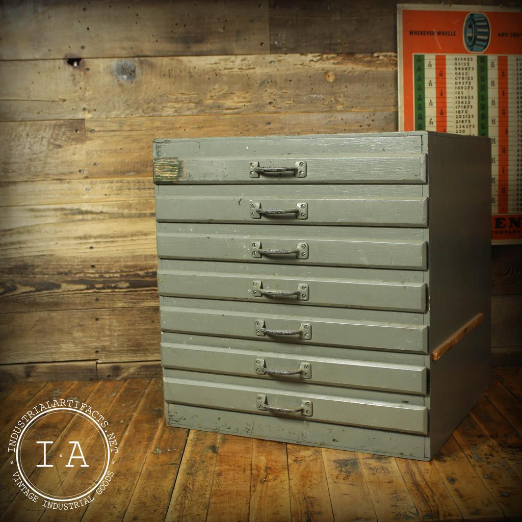 Vintage Industrial Grey Wooden 7 Drawer Parts Cabinet Jewelry Box