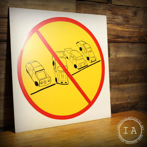 Vintage GE Safety Sign Do Not Park At An Angle Hand Painted Masonite