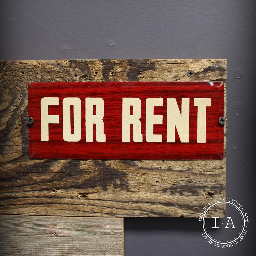 Vintage Faux Wood Metal For Rent Sign Advertising