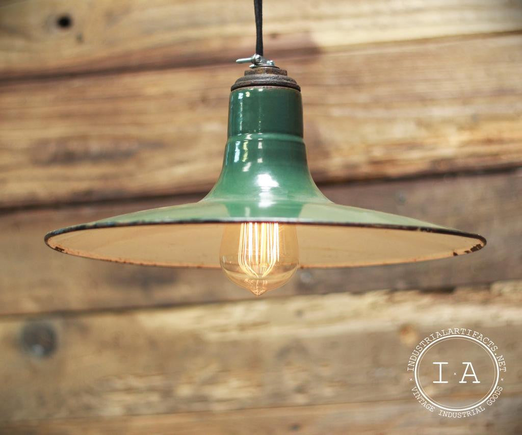 Vintage Green Porcelain Enamel Pendant Light Shade Industrial Desk Lamp