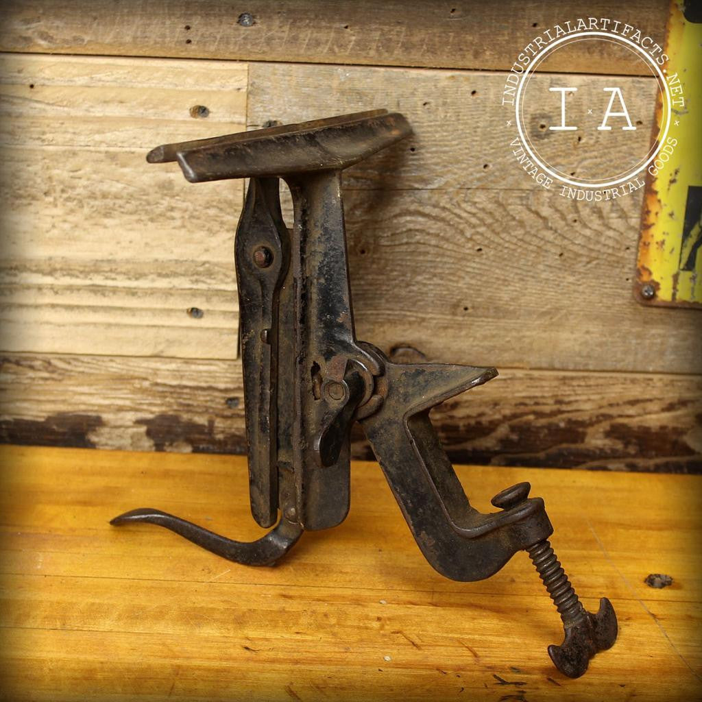 Vintage Industrial Saw Blade Clamp Vise Cast Iron Workbench Sharpening Tool Antique Decor