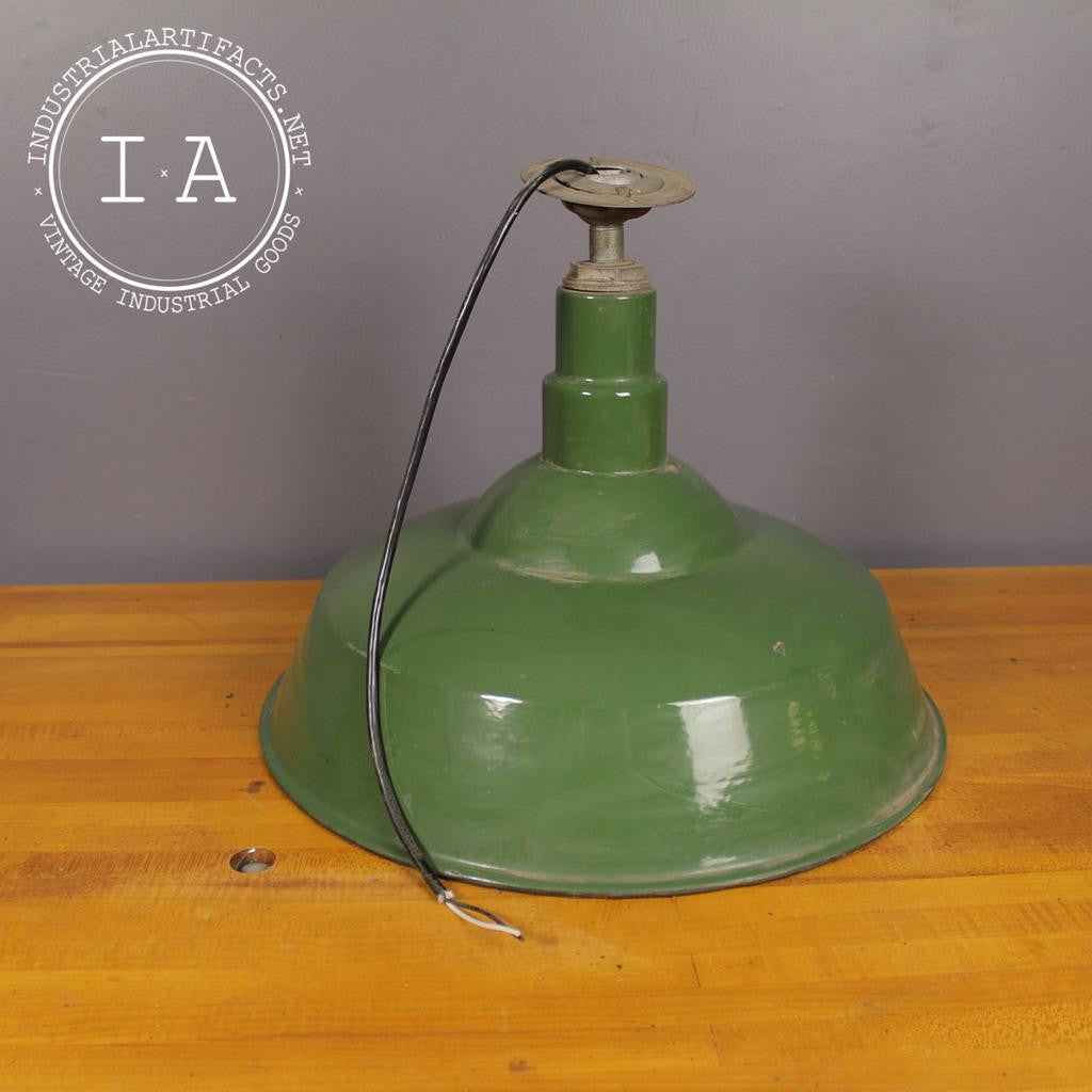 Vintage Industrial Green Porcelain Gas Station Benjamin Pendant Shade