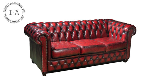 Chesterfield Tufted Leather Sofa In Oxblood