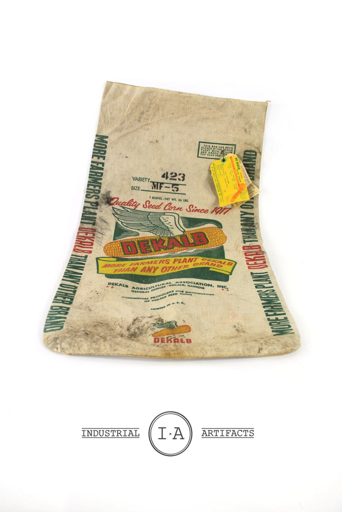 Antique DeKalb Country Burlap Seed and Grain Sack