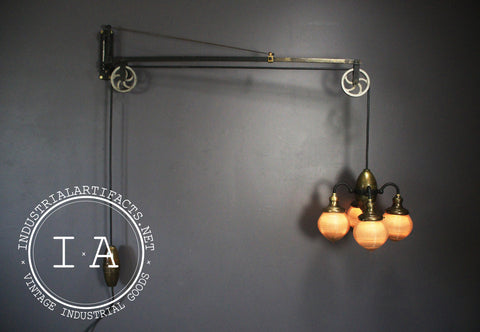 Vintage Brass Holophane Acorn Shade Swing Arm Dental Light Fixture w/ Working Pulleys