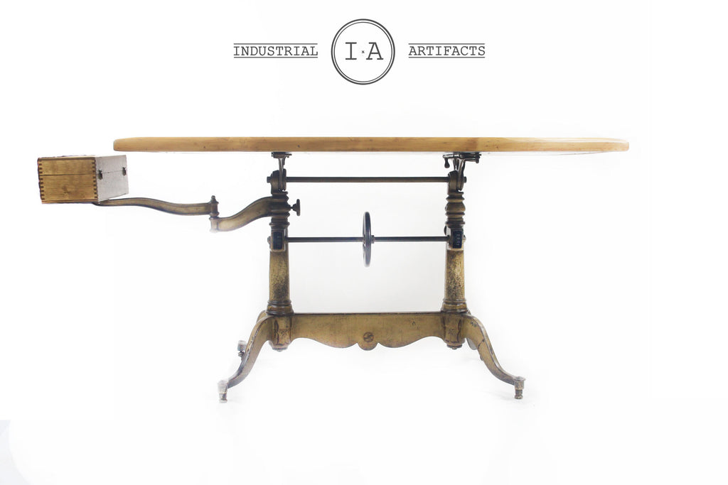 Industrial Drafting Table Set Adjustable w/ Cast Iron Legs and Swing Arm