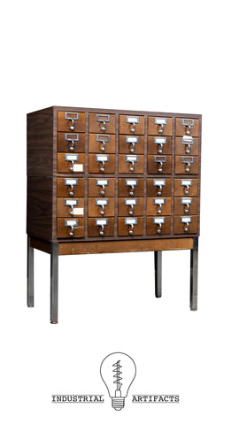 Vintage Thirty Drawer Card Catalog By Casey Equipment Co