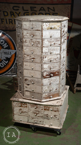 Turn Of The Century Industrial Rotating General Store Parts Cabinet