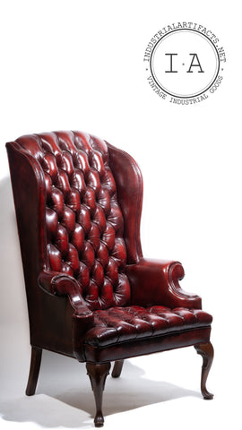 Vintage Tufted Leather Highback Chair in Oxblood
