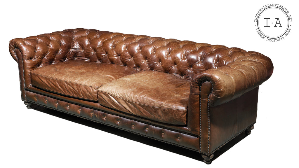 Large Antique Tufted Leather Chesterfield Sofa in Brown