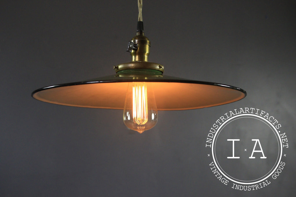 Vintage Porcelain General Electric Hanging Pendant Lamp