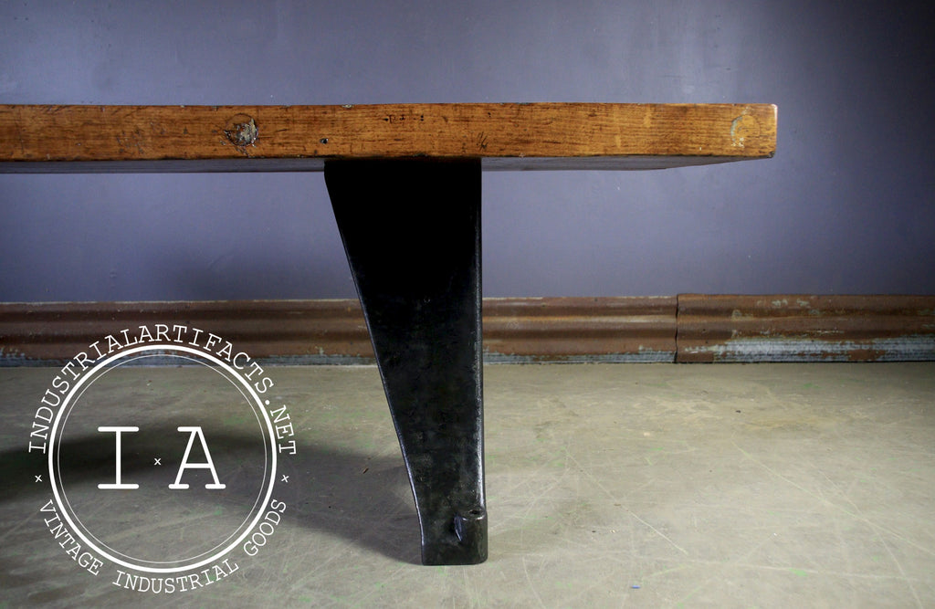 Vintage Industrial Butcher Block Desk w/ Antique Cast Iron Machine Base
