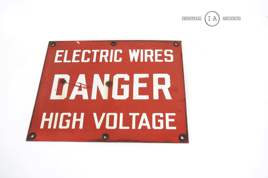 Antique Mid Century Porcelain High Voltage Sign