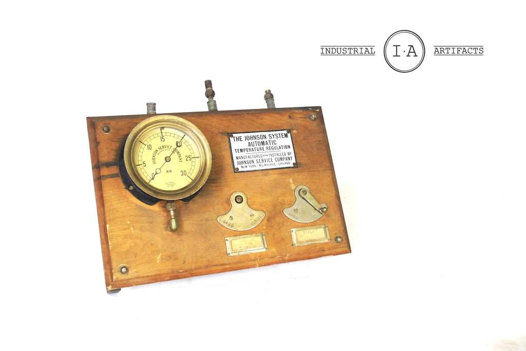 Antique Steampunk Temperature Control Wall Gauge by Johnson Service