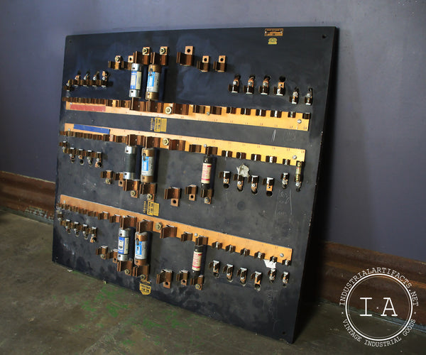 Antique Industrial Fuse Panel Wall Display By Chicago