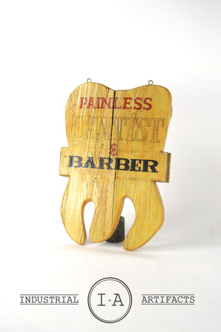 Vintage Wooden Figural Dentist Barber Sign