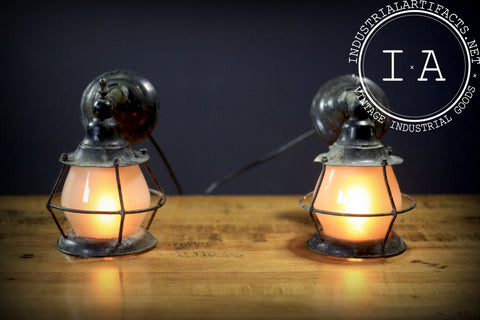 Antique Black Wall Sconce Lamps - Pair
