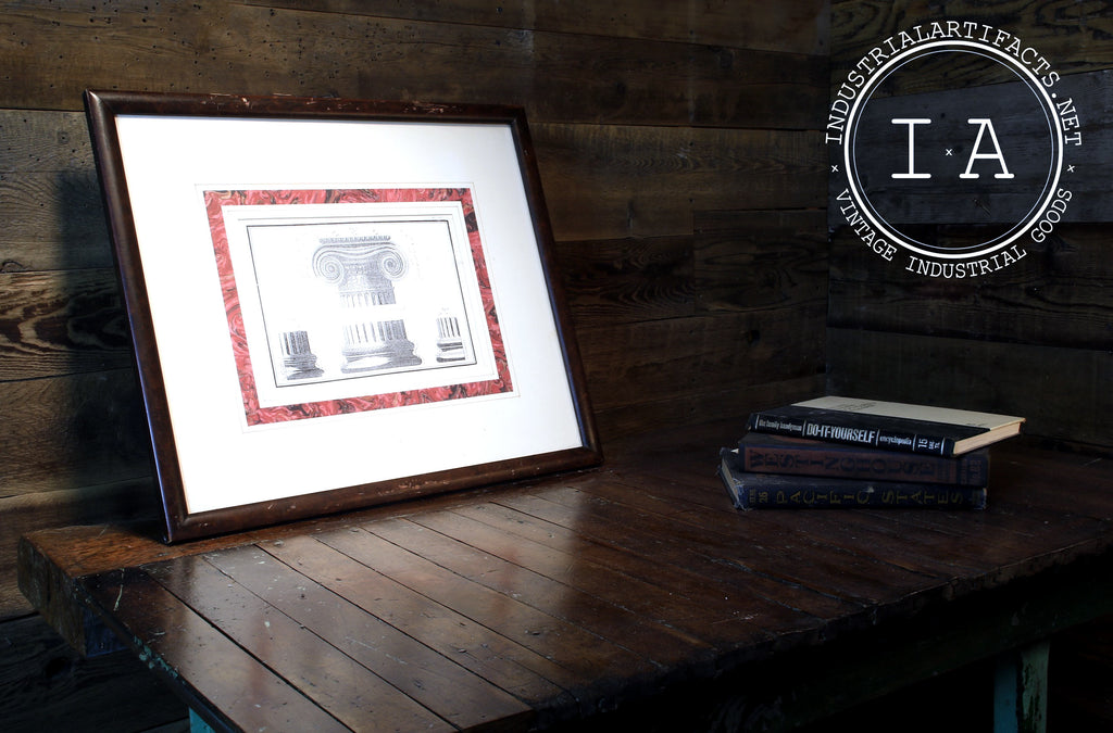 Antique Greek Pillar Framed Drawings