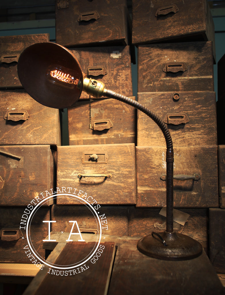 Rustic Hubble Gooseneck Desk Lamp