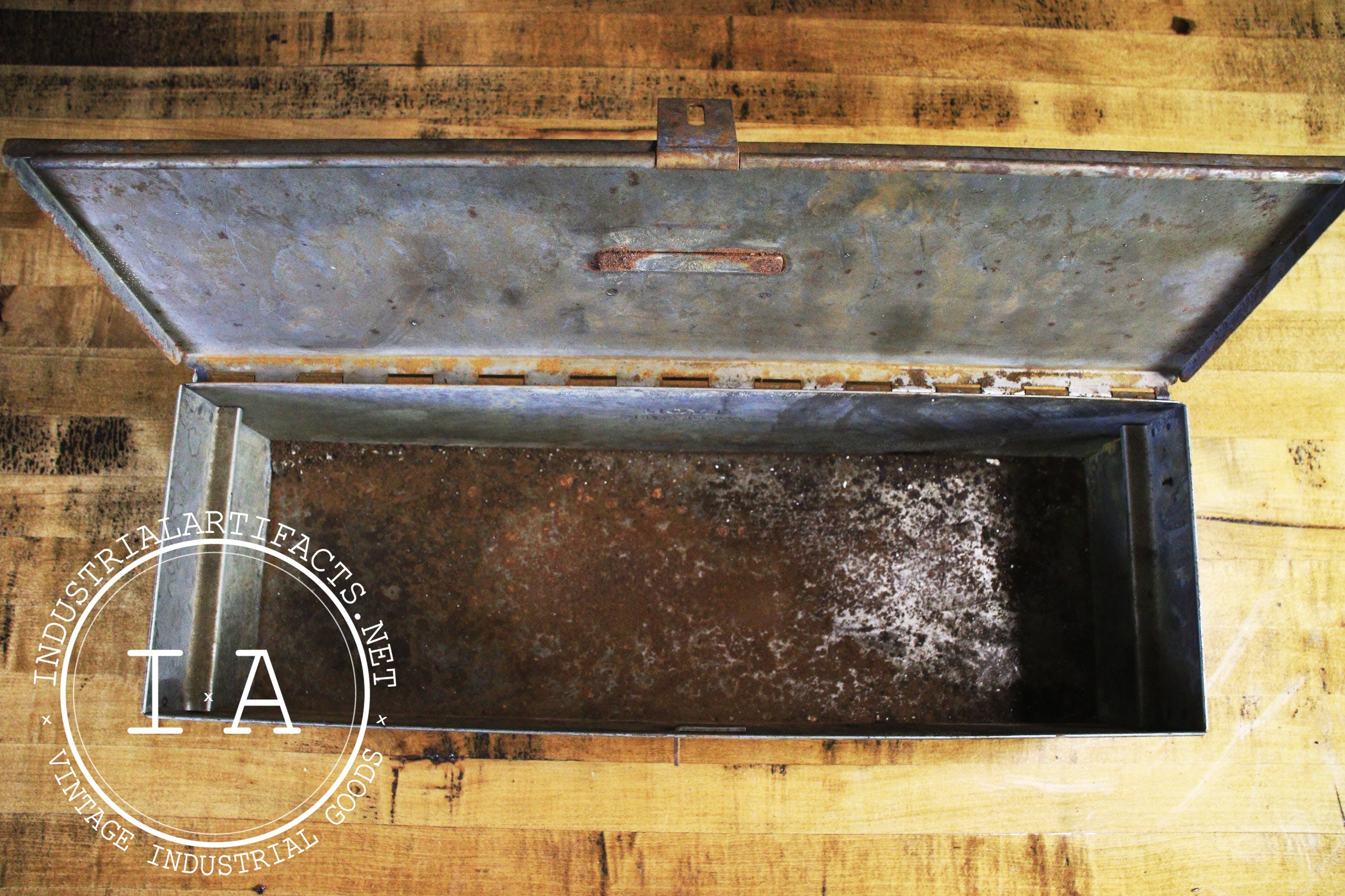 Antique Weathered Toolbox Industrial Storage Container