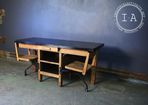 Antique Swing Stool Two Seat Laboratory Desk