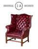 Pair Of Vintage Aged Oxblood Wingback Chairs