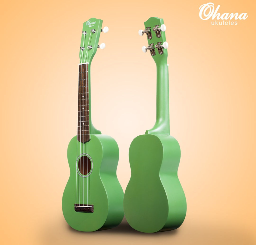 ohana sk-10cg camo green soprano ukulele front and back