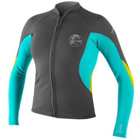 O'Neill Bahia Full-Zip - Graphite/Light Aqua/Yellow