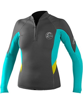 O'Neill Bahia Front-Zip 1MM - Graphite/Light Aqua/Yellow