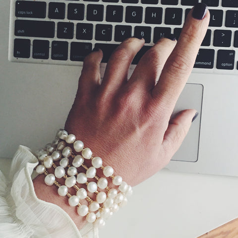 Pearls and Gold Kelly Bangles stack - LISANA FALCON - jewelry -