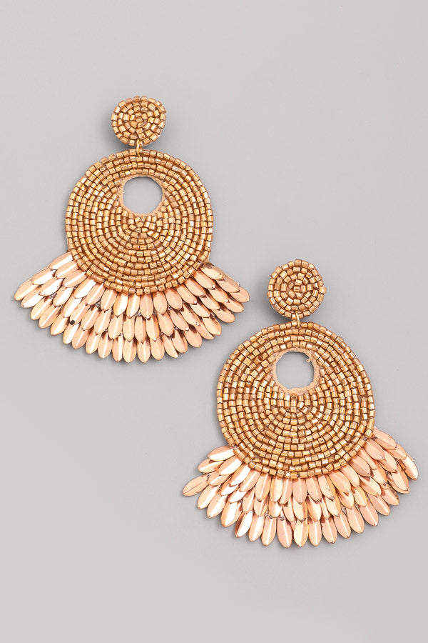 BEAMING BEADED STATEMENT EARRINGS - GOLD