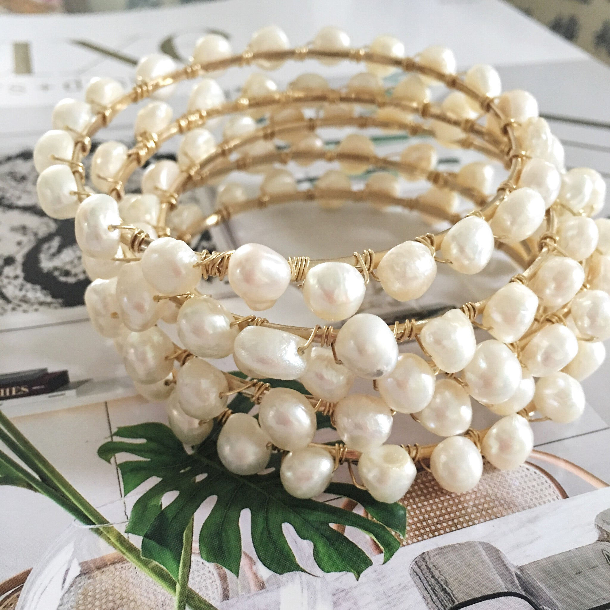 Pearls and Gold Kelly Bangles stack