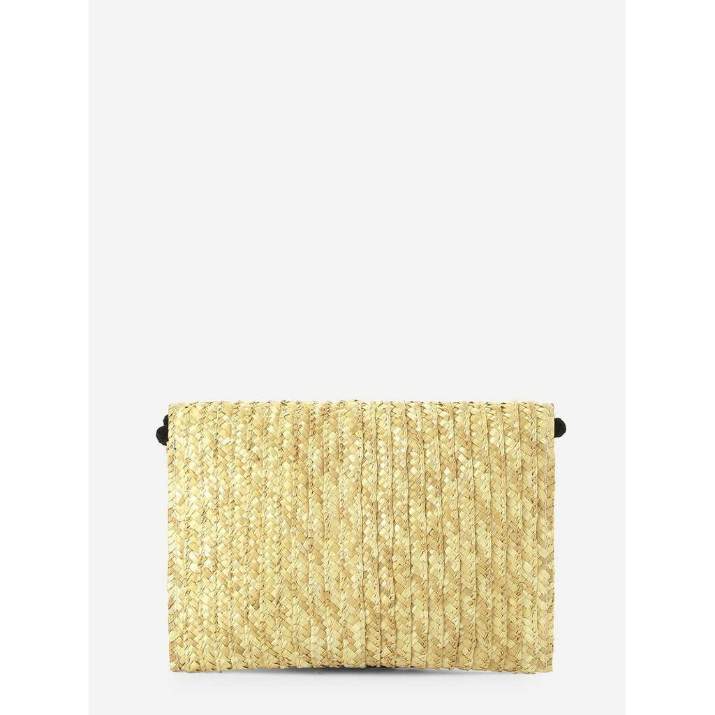 Pom Pom Trim Flap Straw Clutch Bag