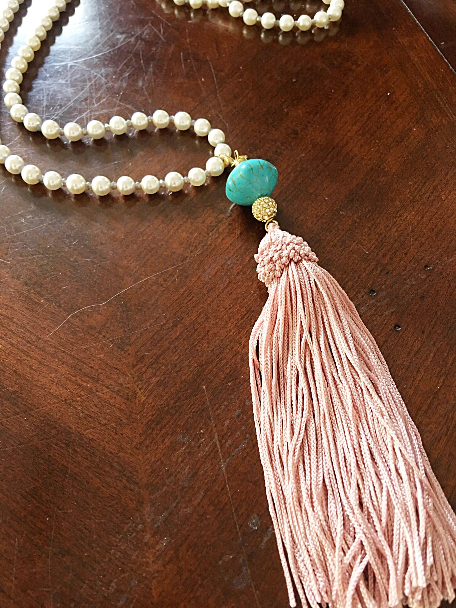 Pearls and Blush Tassel
